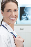 Female Woman Hospital Doctor with X-Rays poster