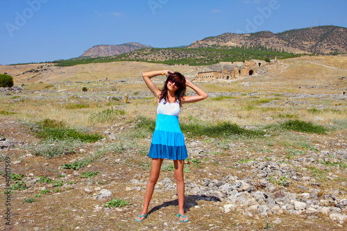 Young woman in Pamukkale, Turkey