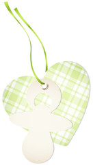 Hangtag Pacifier & Heart Check Green Bow
