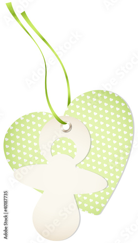 Hangtag Pacifier & Heart Hearts Green Bow