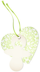 Hangtag Pacifier & Heart Floral Green Bow