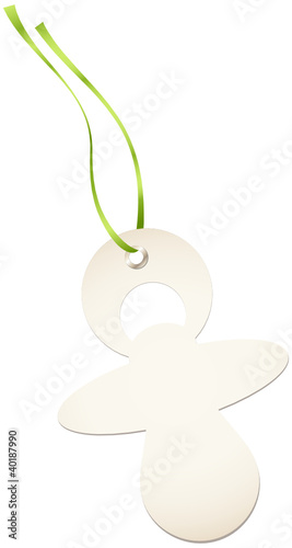 Hangtags Beige Pacifier Green Bow