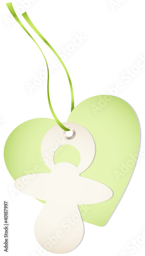 Hangtag Pacifier & Heart Green Bow