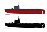 Soviet  submarine  illustration . Separate layers.