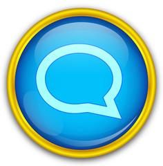 Mavi altın çerçeveli konuşma balonu ikonu