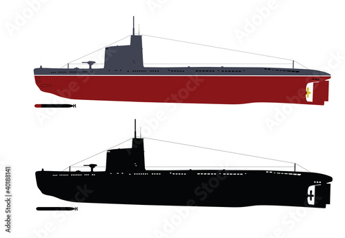 Soviet  submarine  illustration . Separate layers.