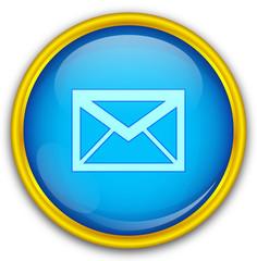 Mavi altın çerçeveli mesaj ikonu