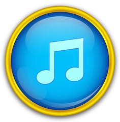 Mavi altın çerçeveli müzik ikonu
