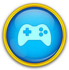 Mavi altın çerçeveli oyun ikonu