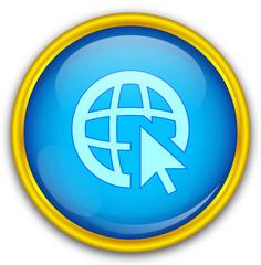 Mavi altın çerçeveli web ikonu
