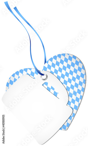 Hangtag Beer Glass & Heart Octoberfest Light Blue