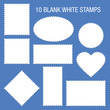 10 Blank White Stamps Blue Background