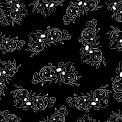 SEAMLESS black white background (EPS 8) with swirls