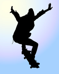 silhouettes of skateboarder