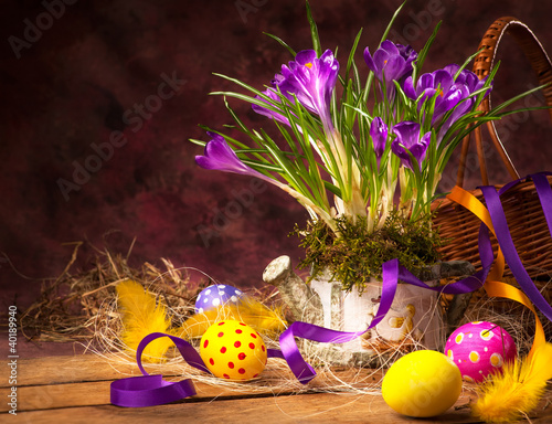 art Easter background with crocuses and Easter eggs