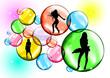 Sfondo Bolle con ragazze che ballano