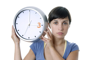 holding a clock