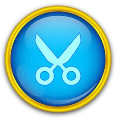 Mavi altın çerçeveli makas ikonu