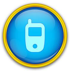 Mavi altın çerçeveli telefon ikonu