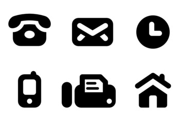 Contact icons: phone, mail, work time, mobile, fax, website