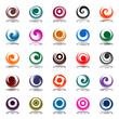 Spiral movement in circle shape. Design elements set.