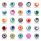 Fototapety Spiral movement in circle shape. Design elements set.