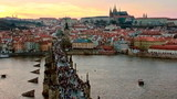 Charles bridge and Prague castle at evening