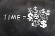 Time is Money written on a blackboard