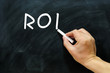 ROI written on a Blackboard / chalkboard