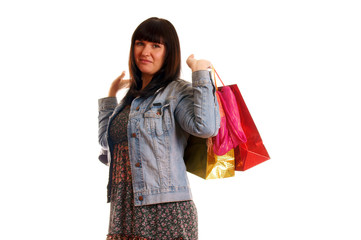 Attractive young girl with shopping bags