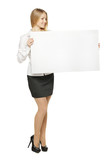 Full length of female holding the blank board