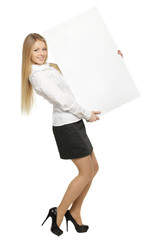Full length of young female holding the blank board