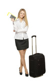 Full length of business woman standing with travel bag