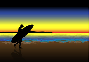 Surfer walking at sunset