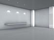 3d shelf and spotlights for exhibit in the grey interior