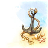 Fototapety Watercolor illustration of anchor and shell