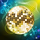 """event flyer """"discoball and lights"""""""