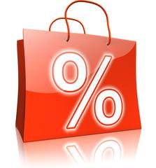 Einkaufstaschen-Serie: Prozentzeichen, rot