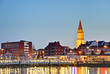 Leinwanddruck Bild - Kieler Hafen am Abend