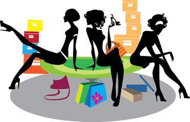 silhouette girls in shop