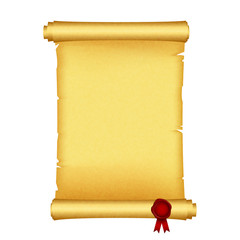 Vector illustration of scroll with red wax seal