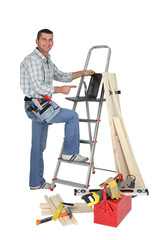 Carpenter with a laptop