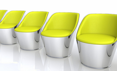 Clubchairs in a row - yellow silver