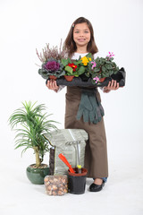 Little girl dressed as florist