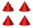 3d conical shape sliced, red pyramid 6 or 7 levels