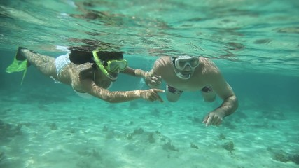 Couple of snorkelers underwater