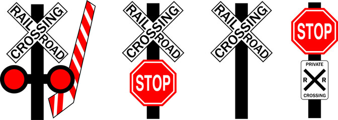 Common U.S. Railroad Crossing Signs