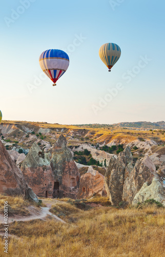 Tuinposter Canyon Hot air balloon flying over Cappadocia Turkey