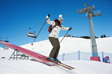 Woman riding in skiing