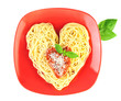 I love Pasta / Spaghetti isolated on white / Heart Shape
